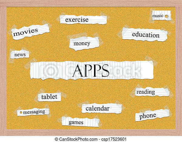 Apps Corkboard Word Concept - csp17523601