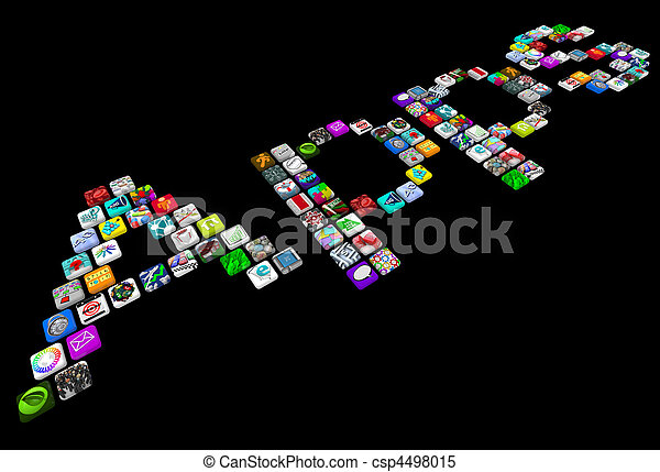 Apps - Many Tile Icons of Smart Phone Applications - csp4498015