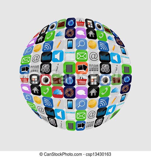 apps, vektor, satz, abbildung, ikone - csp13430163