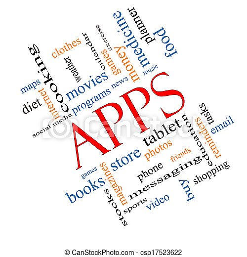 Apps Word Cloud Concept Angled - csp17523622