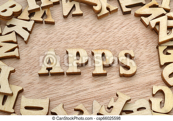 Apps word made with wooden letters - csp66025598