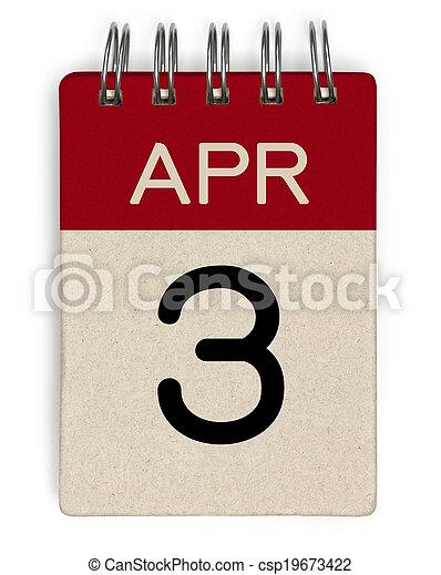 apr, 3, calendrier - csp19673422