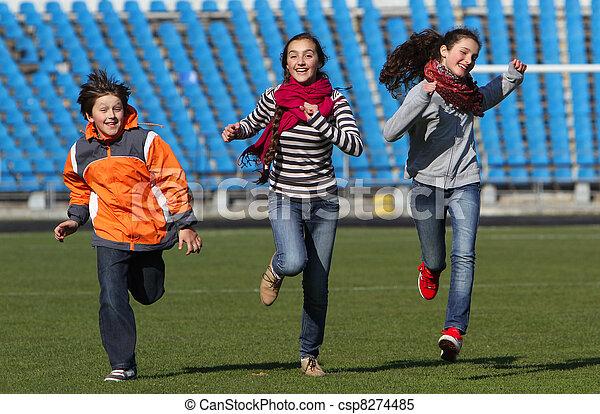 apreciar, menino, adolescente, corrida, meninas - csp8274485