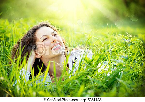 apreciar, outdoors., mulher, jovem, natureza - csp15361123
