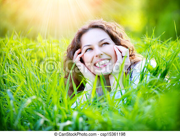apreciar, outdoors., mulher, jovem, natureza - csp15361198
