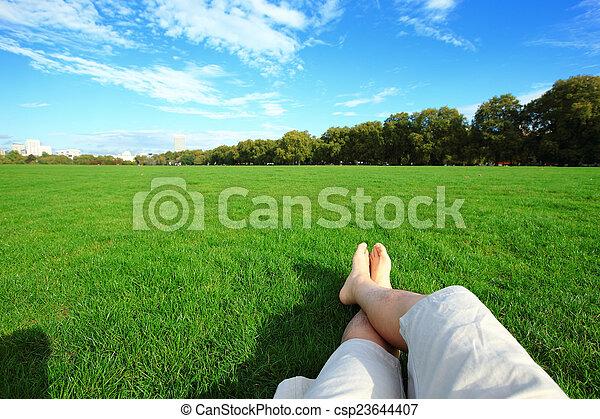apreciar, relaxe, descalço, natureza - csp23644407