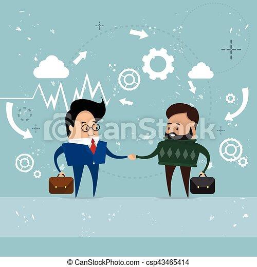 Dos apretón de manos de hombre de negocios, concepto de apretón de manos de hombre de negocios - csp43465414