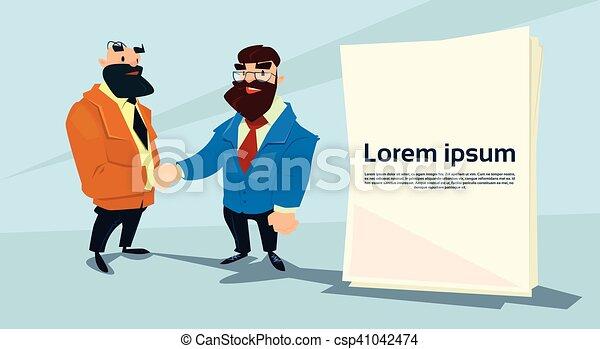 Dos apretón de manos de hombre de negocios, concepto de apretón de manos de hombre de negocios - csp41042474
