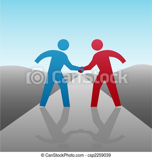 La gente de negocios va a progresar con apretón de manos - csp2259039