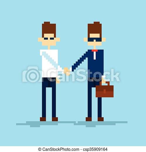 Dos manos de hombre de negocios, acuerdo de apretón de manos - csp35909164