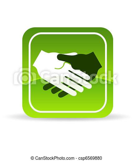 Un icono de apretón de manos verde - csp6569880