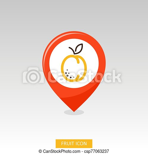 Apricot, Peach with leaf pin map icon - csp77063237