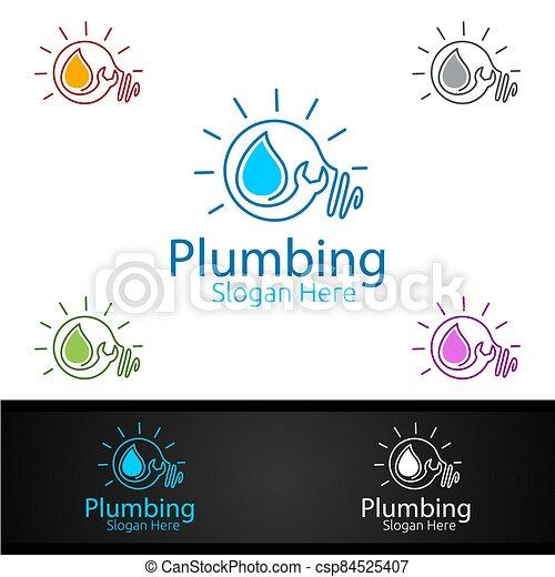 aprieto, hogar, idea, instalación de cañerías, logotipo, agua, concepto - csp84525407
