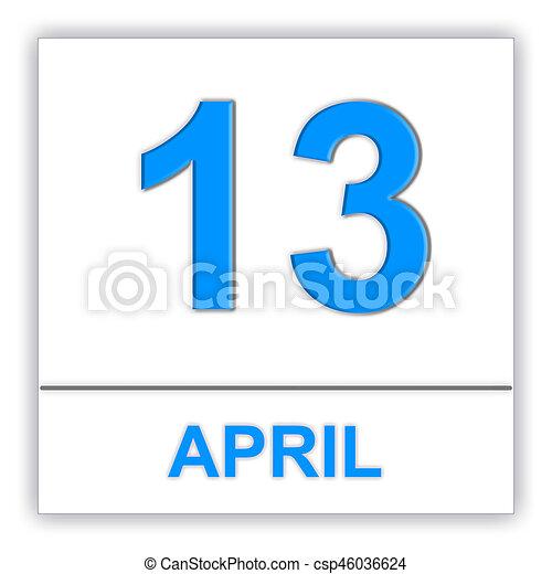 april 13 day on the calendar 3d illustration clip art search rh canstockphoto com april 2015 calendar clipart Month of April Clip Art
