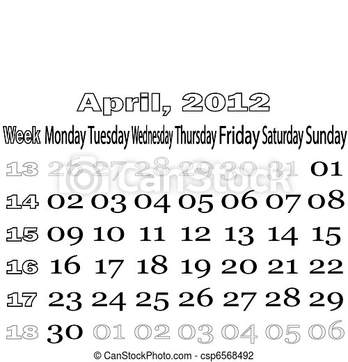 April 2012 monthly calendar - csp6568492