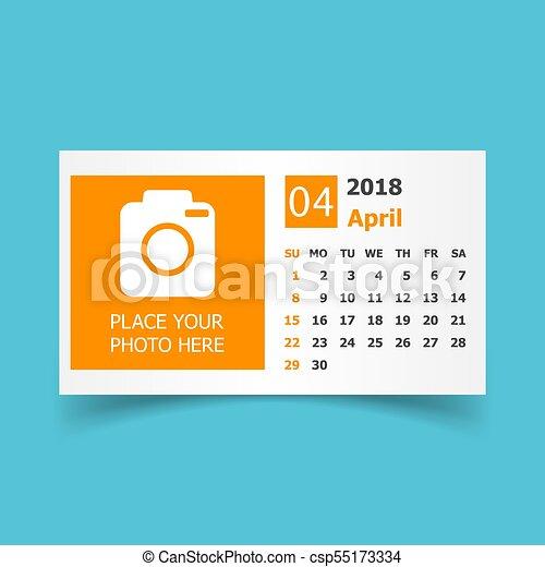 april 2018 calendar calendar planner design template with place for