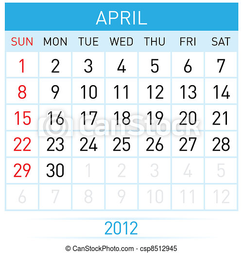 april calendar illustration on white background for design rh canstockphoto com April Fools Clip Art April 9 2014 Clip Art