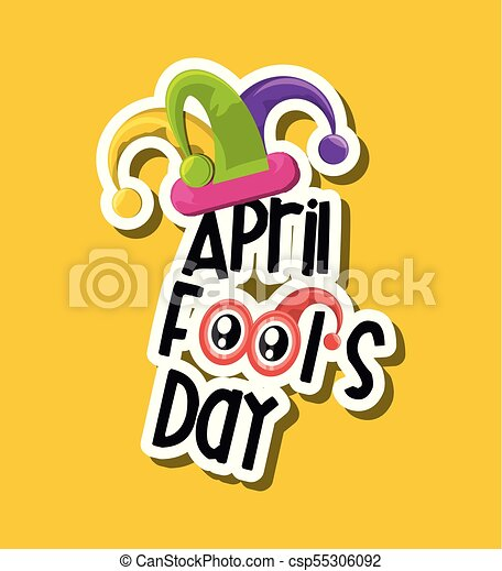 april fools day design with jester hat icon over yellow eps rh canstockphoto com april fools day 2017 clip art happy april fools day clipart