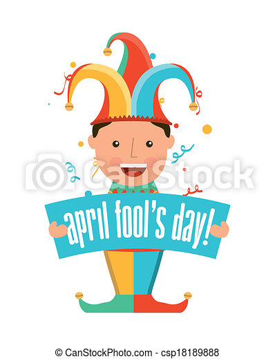 april fools day over white background vector illustration rh canstockphoto com april fools clipart april fool's day clipart free