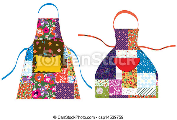Aprons with patchwork design textile set - csp14539759