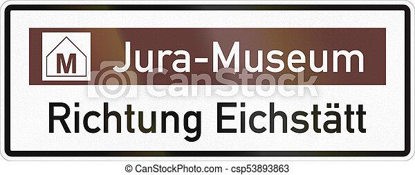 aproximadamente, jurassic, alemão, eichstaett, museu, sinal direção, estrada - csp53893863