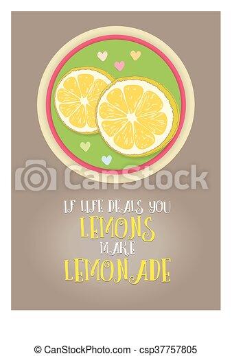 Aproximadamente Limão Cartão Postal Limonada Vida Frase