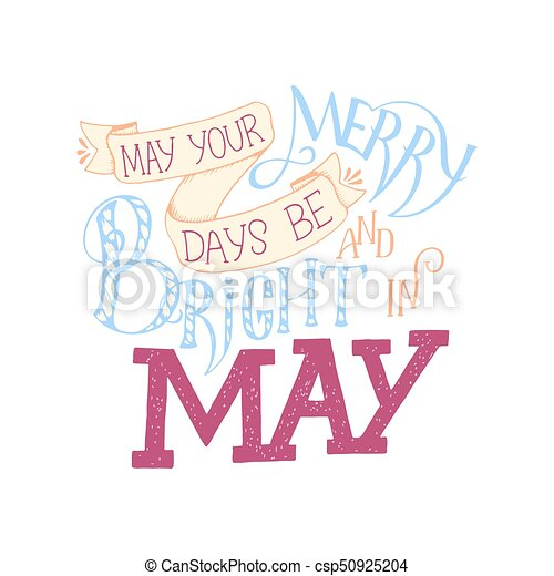 Aproximadamente Poster Cartão Postal Maio Tipografia Saudação Caligrafia Etiqueta Calendário Escova Inspirational Frase Mão Lettering