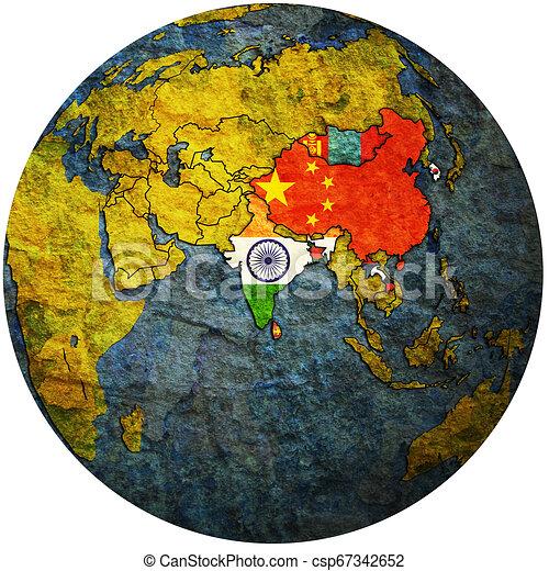 APTA on globe map with asia - csp67342652