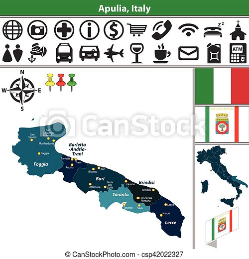 Apulia with regions italy Vector map of apulia with vector