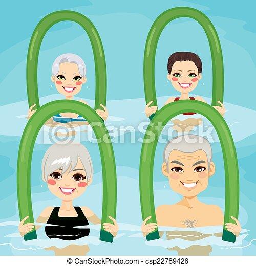 aqua, anziano, schiuma, rulli, palestra - csp22789426
