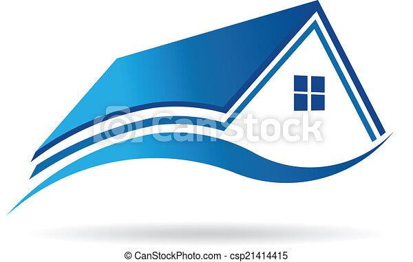 Aqua blue house real estate image. Vector icon - csp21414415