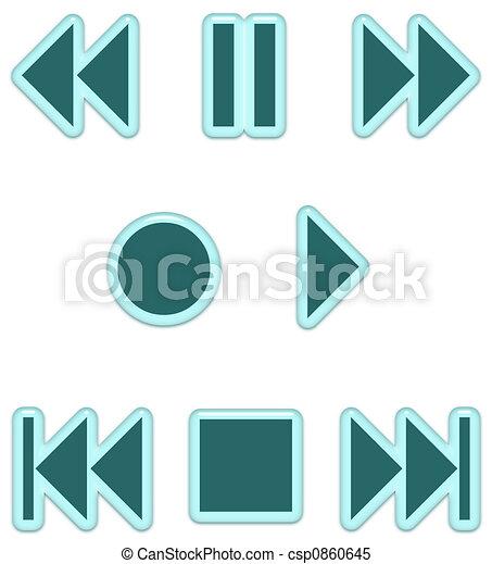 Aqua Glass Audio Buttons - csp0860645