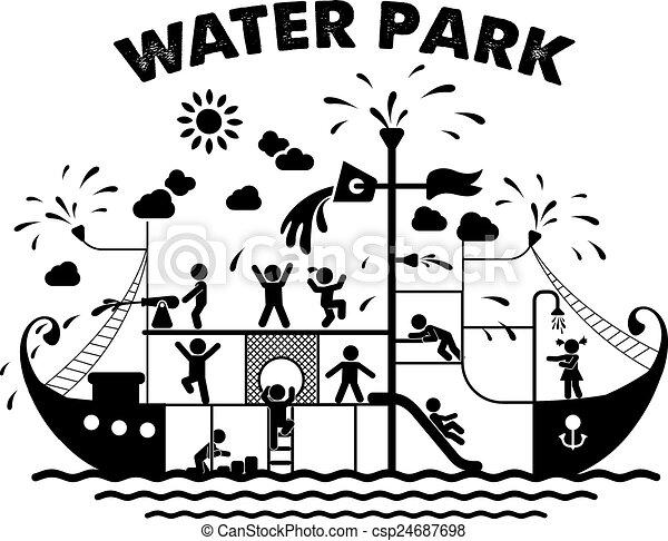 Aqua park flat vector illustration - csp24687698