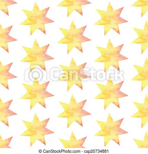 Aquarel star, vector vintage seamless pattern - csp20734881