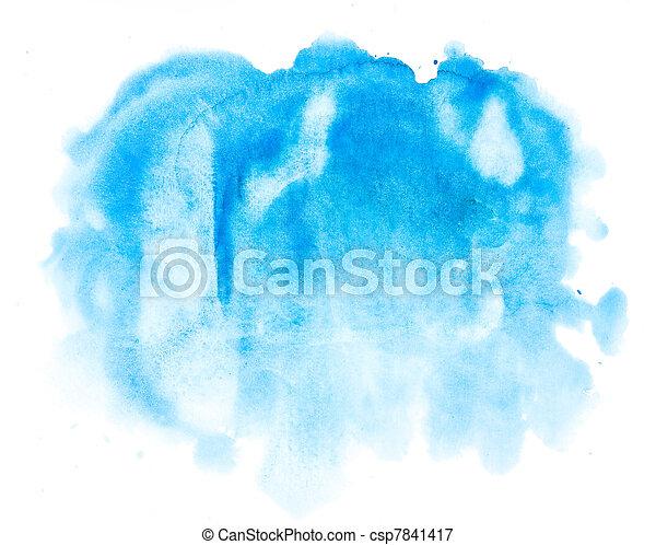 aquarela, azul, abstratos, fundo - csp7841417