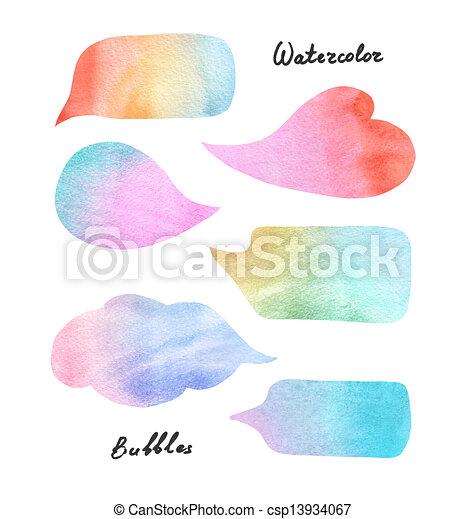aquarela, bolhas, fala, coloridos - csp13934067