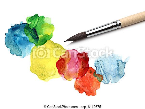 aquarela, bstract, círculo, quadro, escova - csp16112675