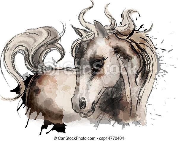 aquarela, cute, pequeno, quadro, cavalo - csp14770404