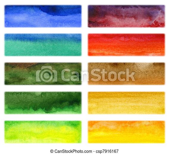 aquarela, desenhado, abstratos, fundo, mão - csp7916167