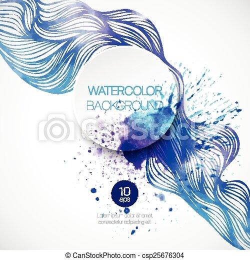 aquarela, experiência., vetorial, ilustração, onda - csp25676304