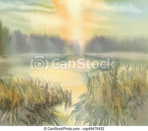 aquarela, pôr do sol, lago, fundo - csp49475432