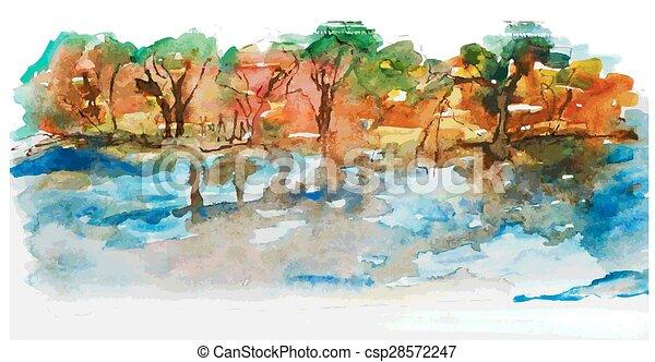 aquarela, paisagem, lago, árvores, natureza - csp28572247