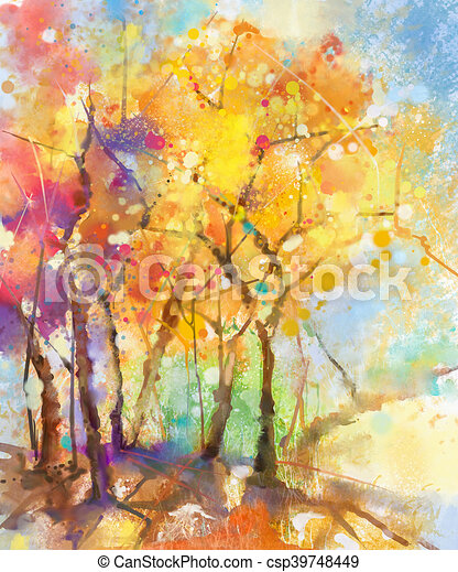 Aquarela Pintura Abstrata Coloridos Paisagem Azul Verao