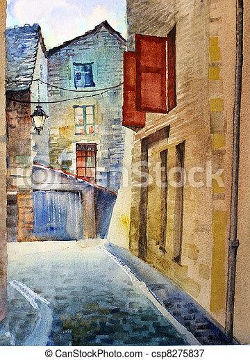 aquarela, rua, antigas - csp8275837