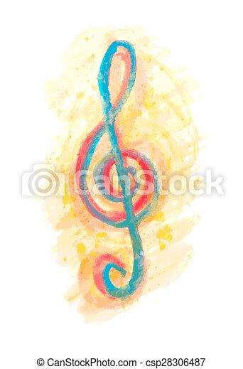 aquarela, triplo, multicolor, clef, g - csp28306487
