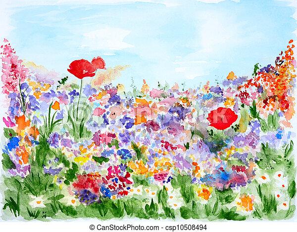 aquarela, verão, flores, jardim - csp10508494