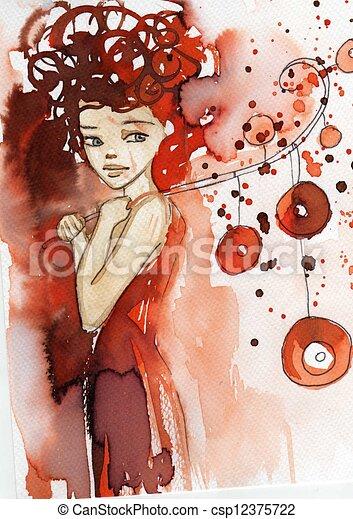 Wasserfarbene Illustration - csp12375722