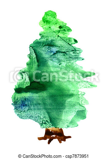 Aquarell baum weihnachten baum freigestellt aquarell hintergrund wei es weihnachten - Aquarell weihnachten ...