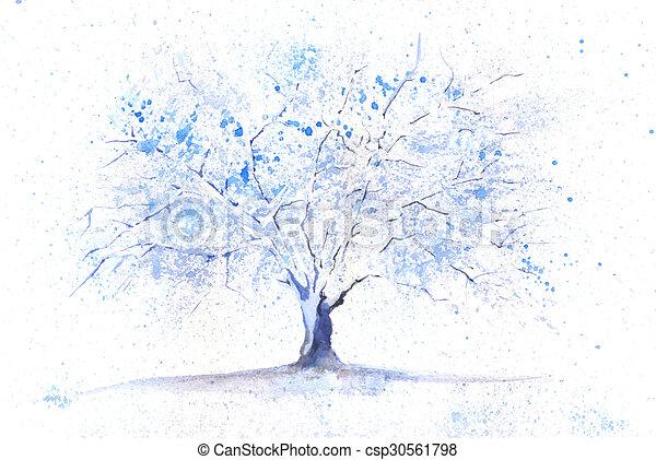 Aquarell Baum Winter Jahreszeiten Winter Gemalt Baum