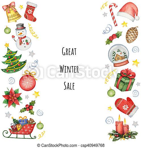 Gemalte Weihnachtskarten.Aquarell Elemente Gemalt Hand Sale Hintergrund Weihnachten